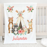 Woodland Creatures Personalized Minky Blanket for Kids