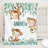 Monkey Safari Personalized Minky Blanket for Boys