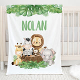 Jungle Safari Animals Personalized Minky Blanket for Boys