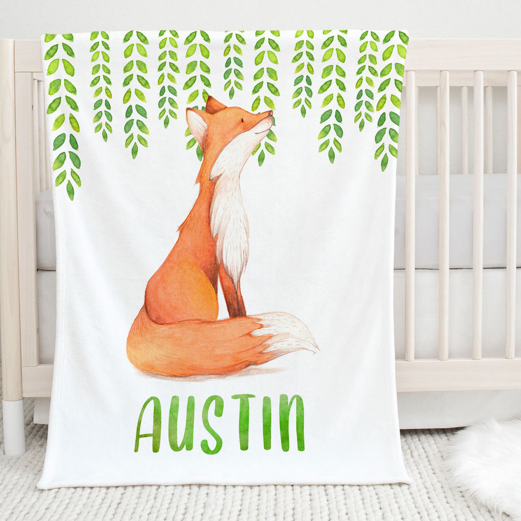 Watercolor Fox Personalized Minky Blanket for Boys