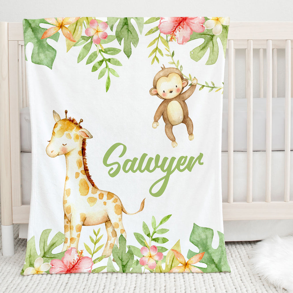 Sawyer Safari Personalized Minky Blanket for Boys
