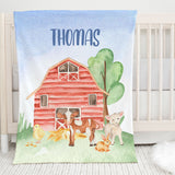 On the Farm Red Barn Personalized Minky Blanket for Boys