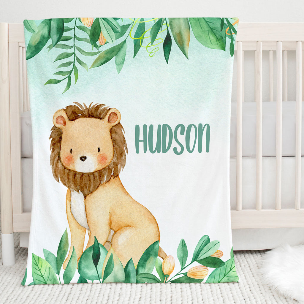 Jungle Lion Personalized Minky Blanket for Boys