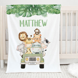 Jungle Safari Personalized Minky Blanket for Boys