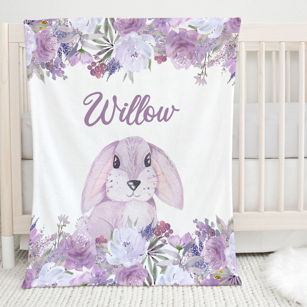 Willow Bunny Personalized Minky Blanket for Girls