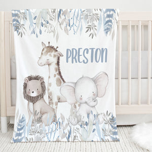 Preston Safari Animals Personalized Minky Blanket for boys