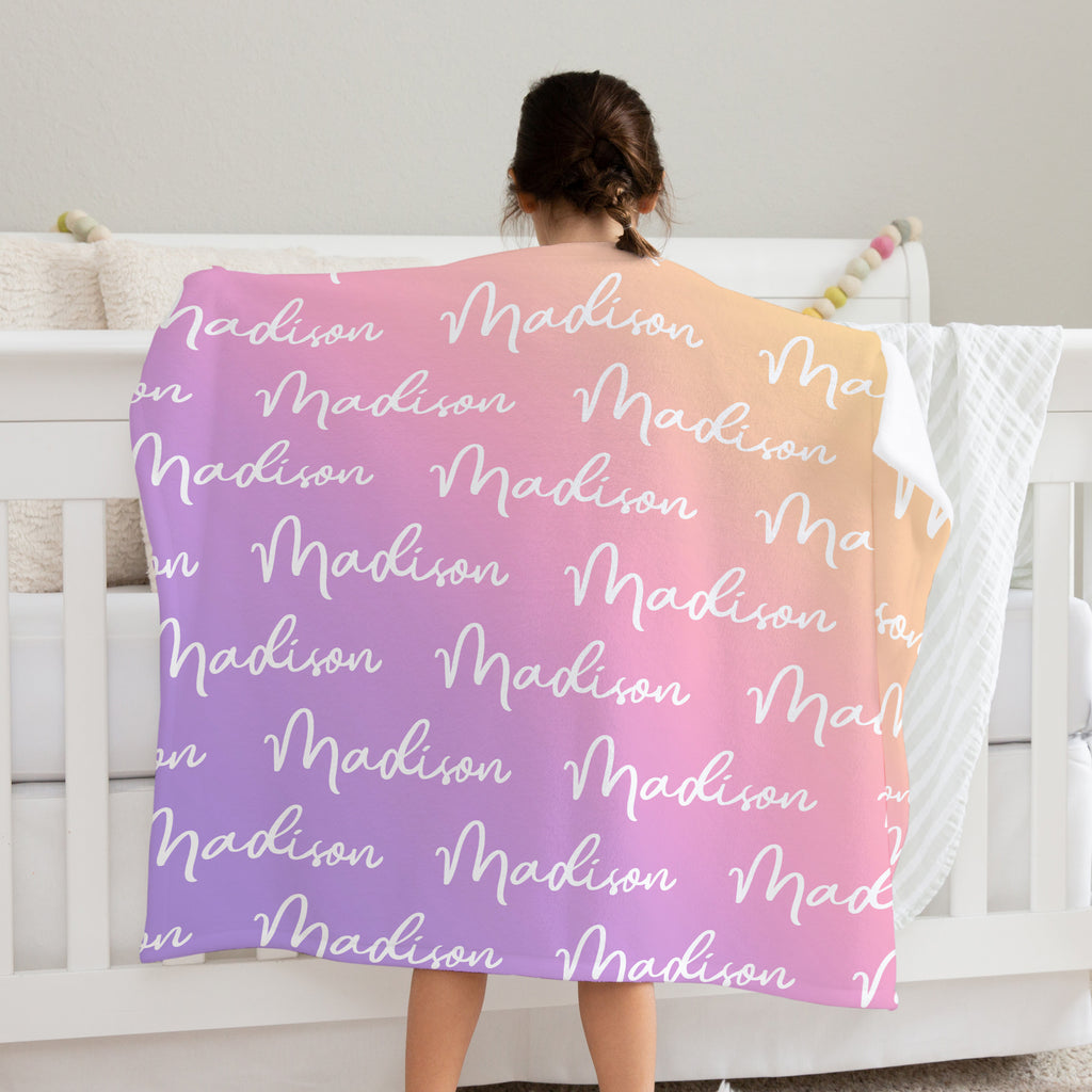 Sweet Dreams Rainbow Personalized Name Blanket for Toddlers