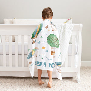 Hot Air Balloon Personalized Minky Blanket