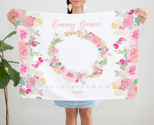 Pink Floral Rose Minky Milestone Blanket for Baby Girls