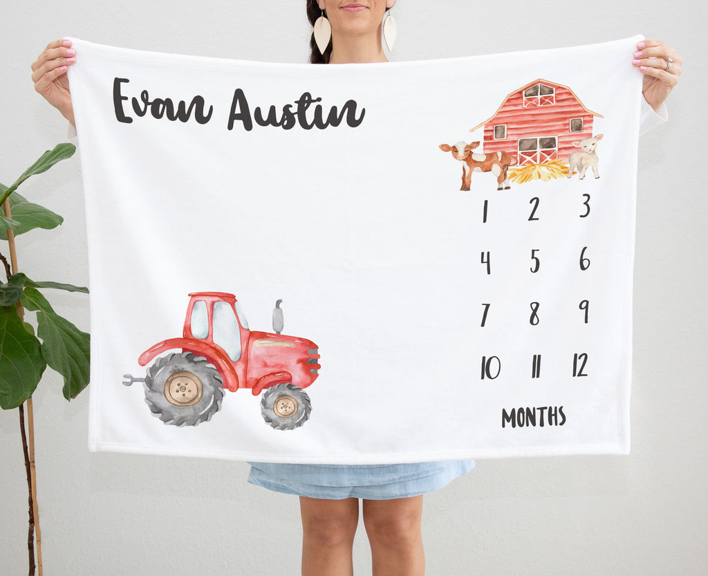 Little Red Tractor Personalized Milestone Baby Blanket for Newborn Baby Boys