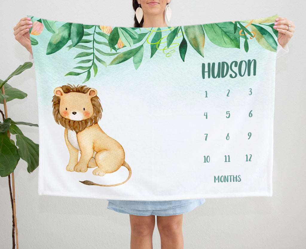 Jungle Lion Monthly Milestone Personalized Baby Blanket