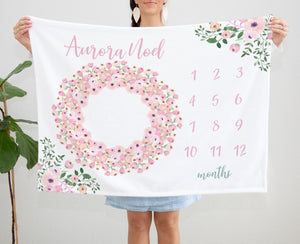 Pink Floral Monthly Milestone baby girl blanket
