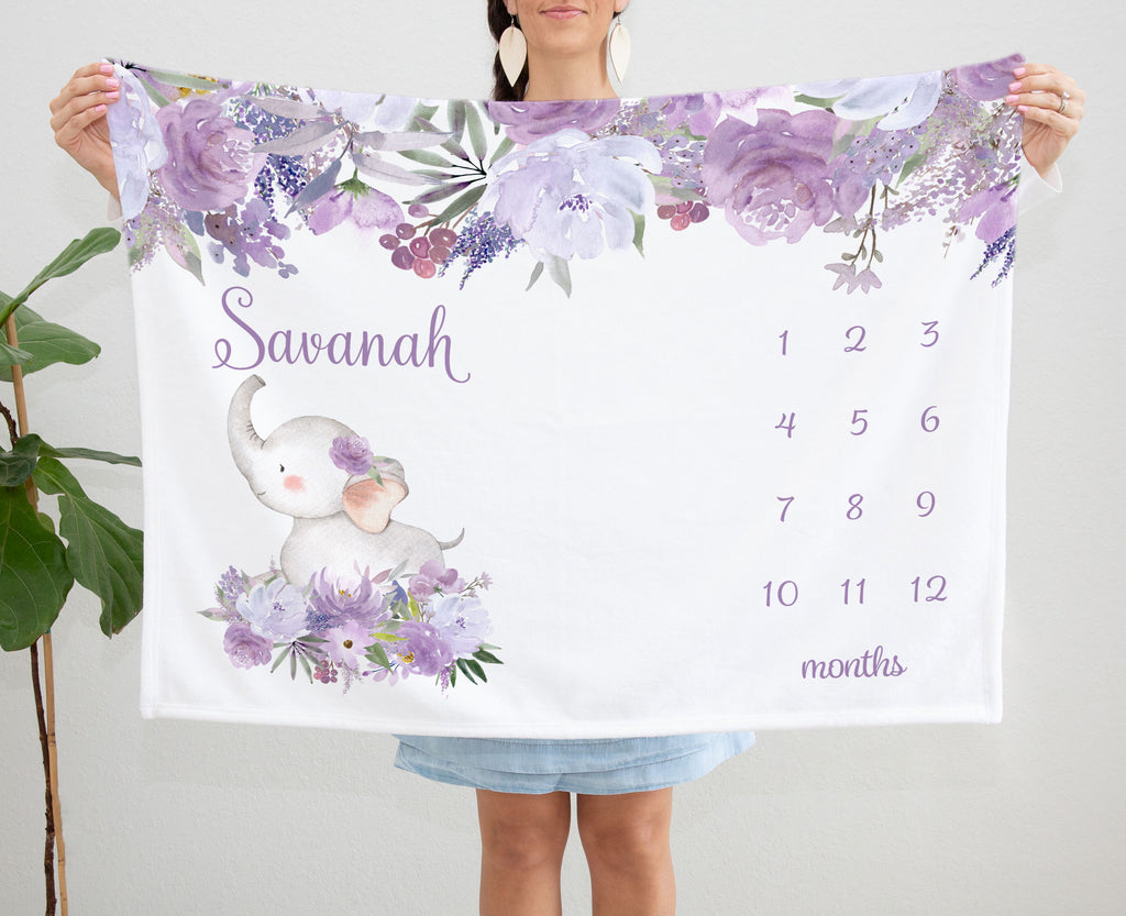 Savannah Purple Floral Elephant Personalized Monthly Milestone Baby Blanket