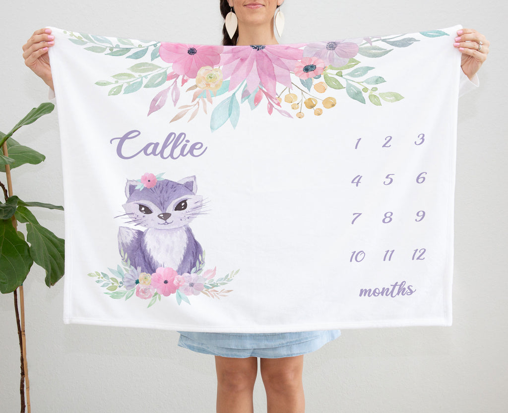Callie Cat Milestone Personalized Baby Blanket for Girls
