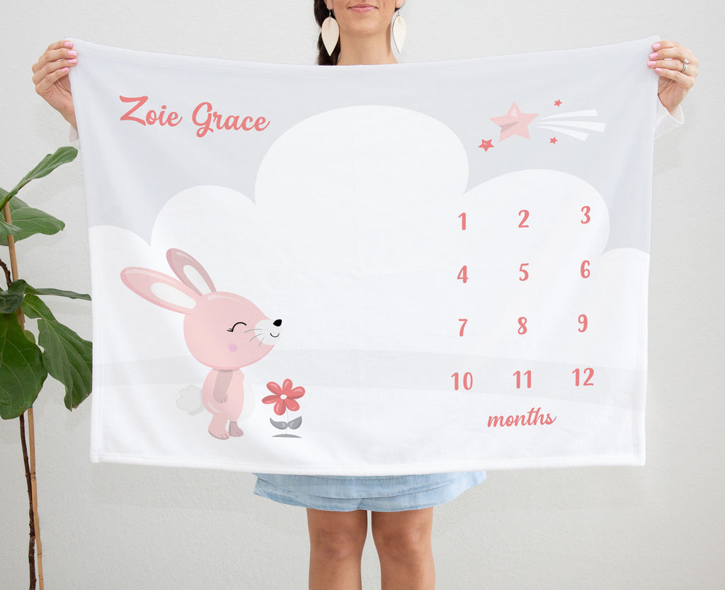 Pink Bunny Rabbit Baby Milestone Blanket for Girls