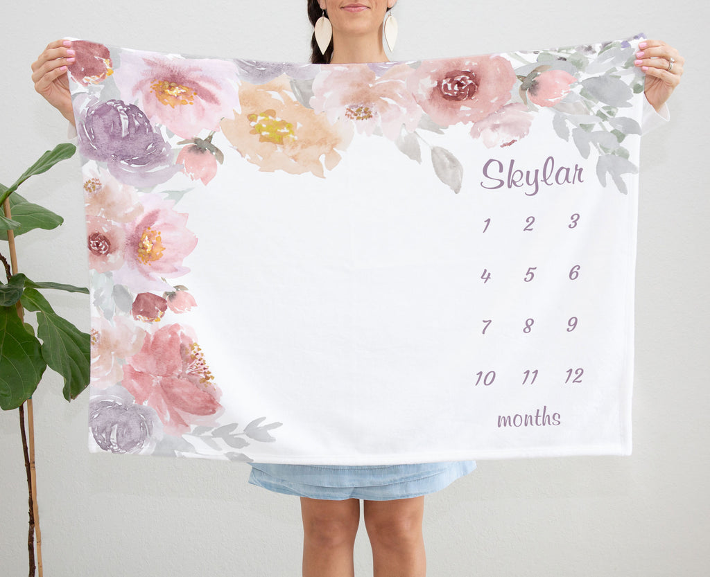 Skylar Flower Garden Personalized Custom Milestone Baby Blanket Baby Shower Gift for Girls