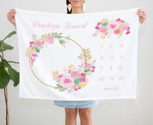 Pink floral Frame Milestone Blanket for Baby Girls