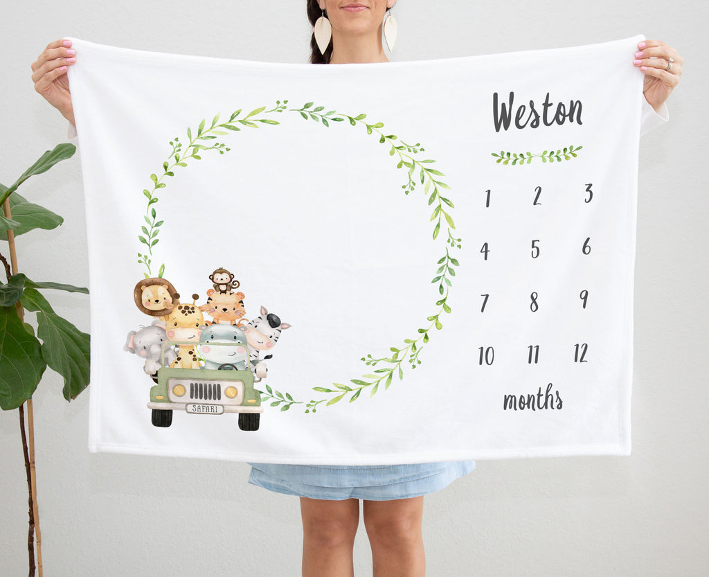 Weston Jungle Jeep Personalized Milestone Baby Age Blanket for Boys