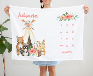 Juliana Tribal Personalized Milestone Baby Blanket Baby Gift