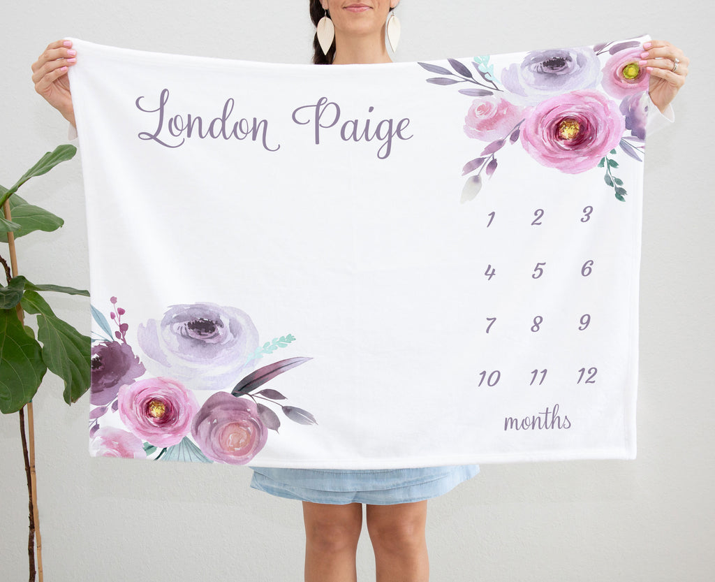 London Purple Floral Personalized Monthly Milestone Baby Blanket