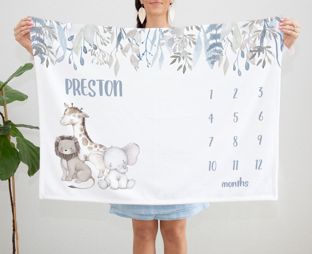 Preston Safari Animals Milestone Personalized Baby Blanket