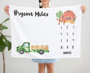 Little Green Truck Personalized Milestone Baby Age Blanket