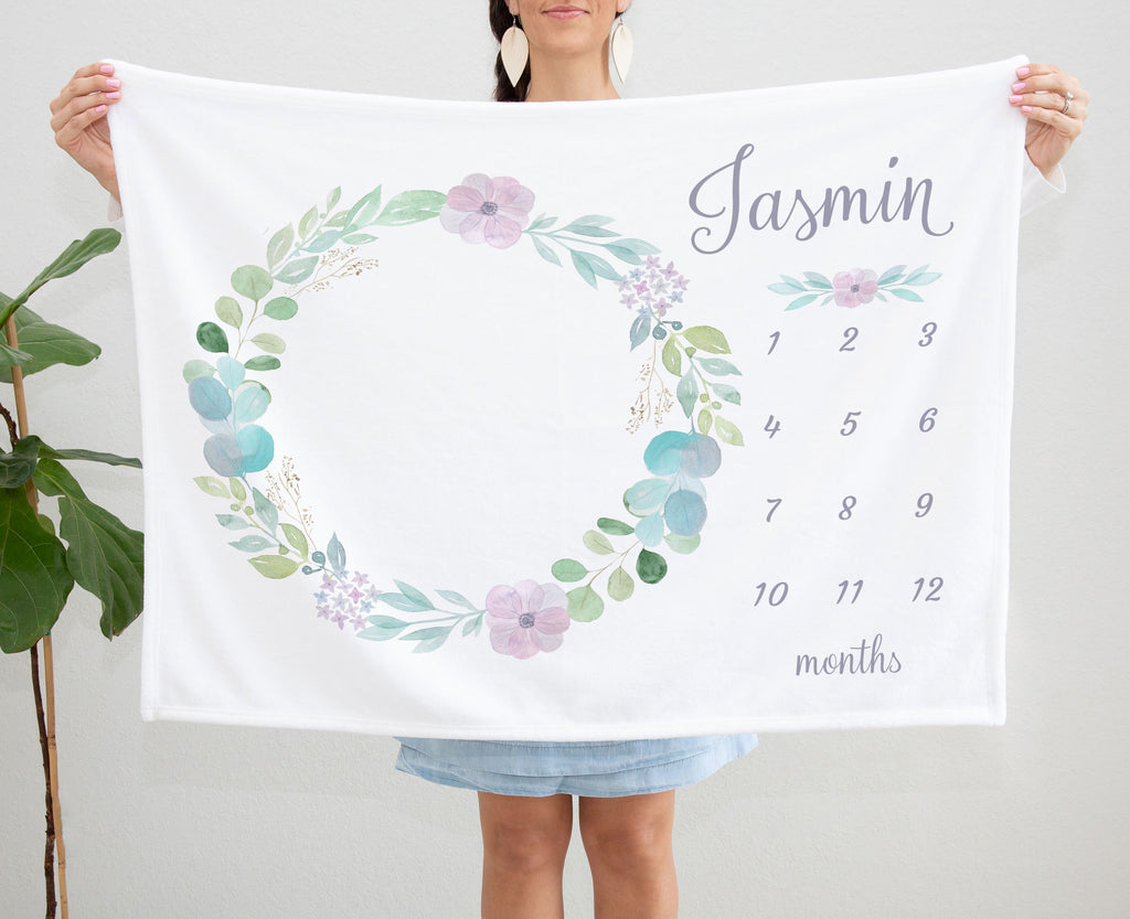 Jasmin Floral Wreath Personalized Milestone Baby Blanket Baby Shower Gift for Girls