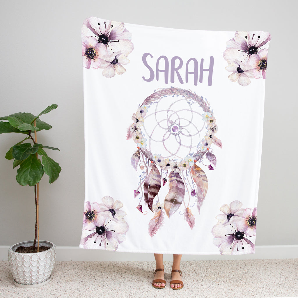 Dream Catcher Personalized Minky Blanket Gift for Girls