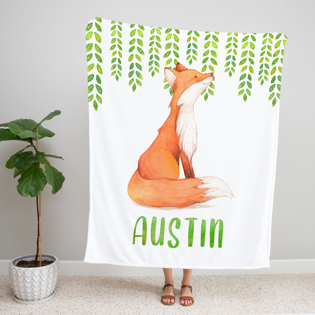 Watercolor Fox Minky Baby Blanket for Baby Boys