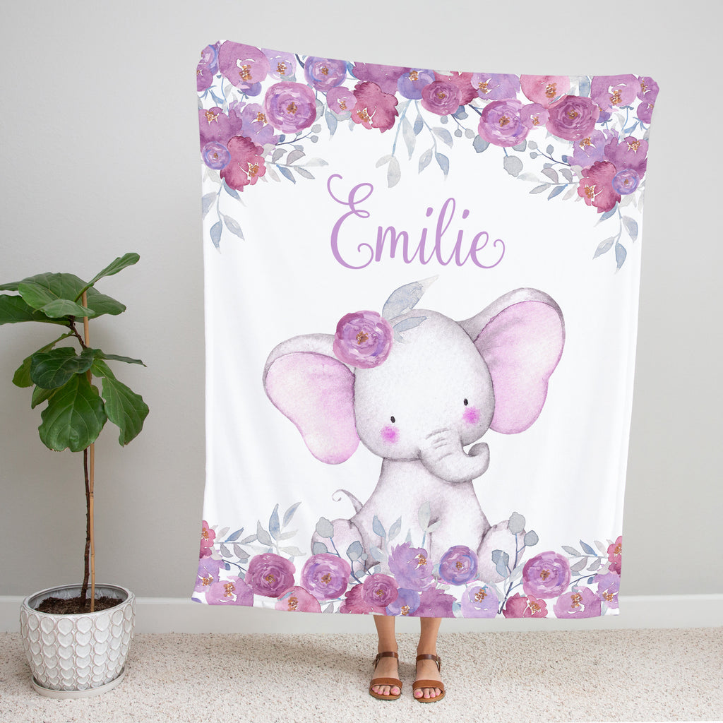 Purple Floral Elephant Personalized Minky Blanket Gift for Girls