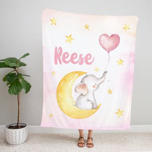 Pink Baby Elephant Personalized Minky Blanket for Girls