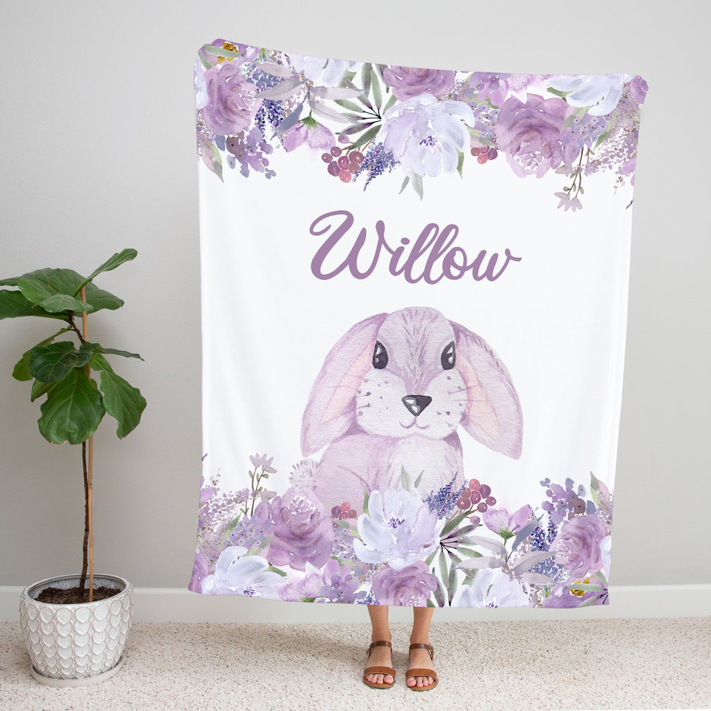 Purple Floral Bunny Personalized Minky Blanket Gift for Girls