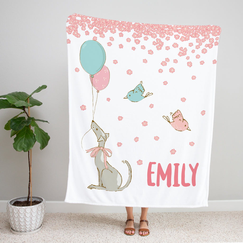 Vintage Balloons Personalized Minky Blanket Gift for Girls