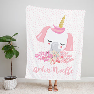 Pink Elephant Personalized Minky Blanket Gift for Girls