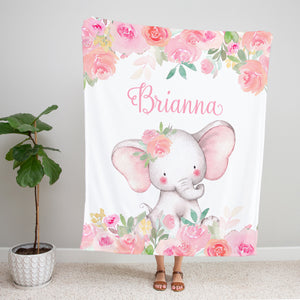 Pink Floral Elephant Personalized Minky Blanket Baby Shower Gift