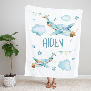 Blue Airplanes Personalized Minky Blanket Gift for Boys