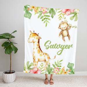 Swinging Monkey Personalized Minky Blanket Baby Shower Gift