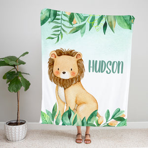 Safari Jungle Lion Personalized Minky Blanket