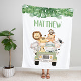 Jungle Safari Animals Personalized Minky Baby Blanket for Boys Baby Shower Gift