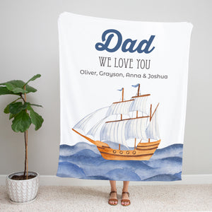 Ocean Blue Personalized Adult Blanket for Dad