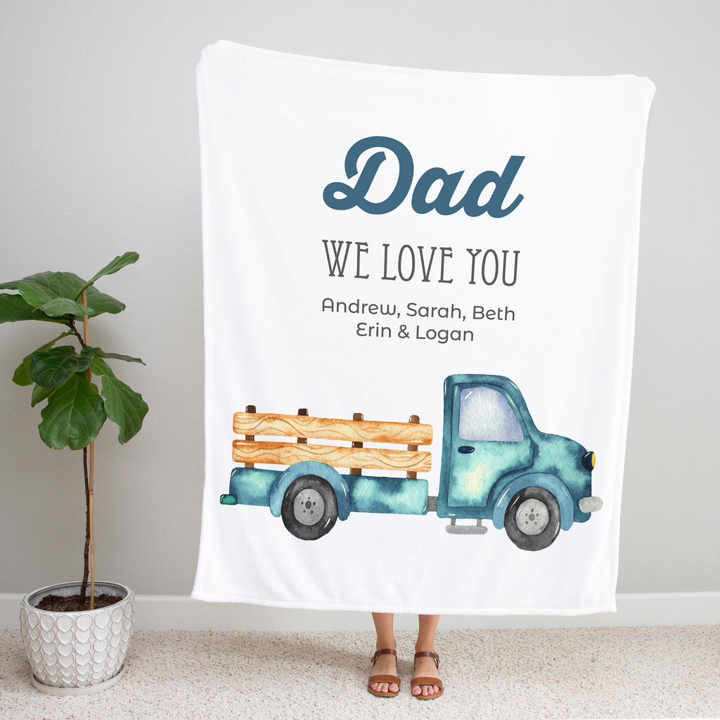 Blue Pickup Truck Personalized Adult Blanket for Dad