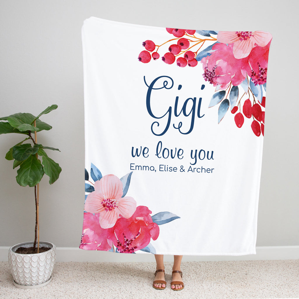 Beautiful Blooms Personalized Adult Blanket for Gigi