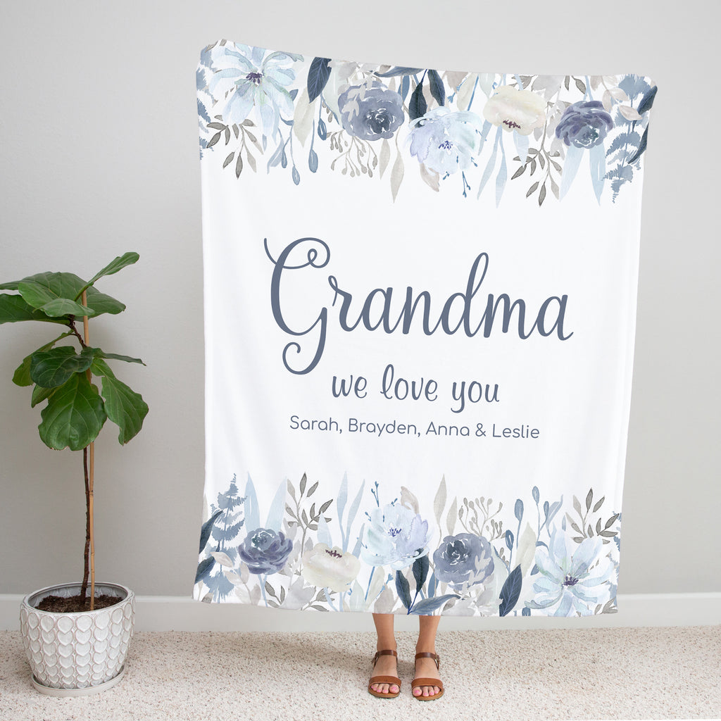 Fields of Blue Personalized Blanket for Grandma