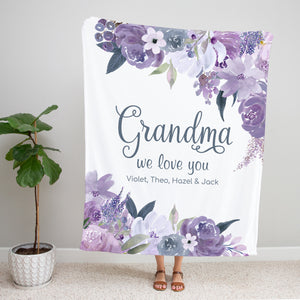 Purple Petals Personalized Adult Blanket for Grandma