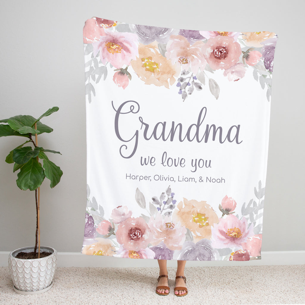 Dusty Garden Personalized Blanket for Grandma