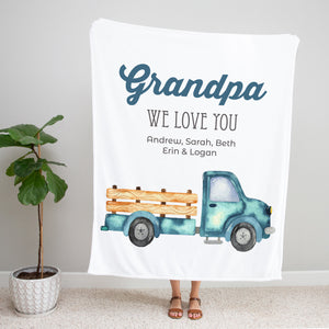 Blue Pickup Truck Personalized Adult Blanket Gift for Grandpa