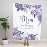 Purple Petals Personalized Adult Blanket Mom Gift