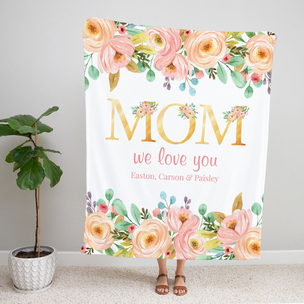 Golden Letter Personalized Adult Blankets for Mom