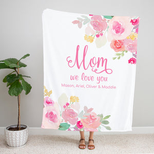 Pink Gardens Personalized Adult Blanket for Mom