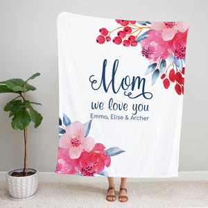 Beautiful Blooms Personalized Adult Blanket Gift for Mom